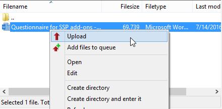 Upload files FTP