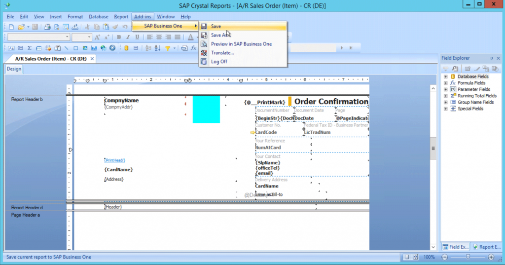 Save SAP B1 Crystal Reports with system flag - auf English