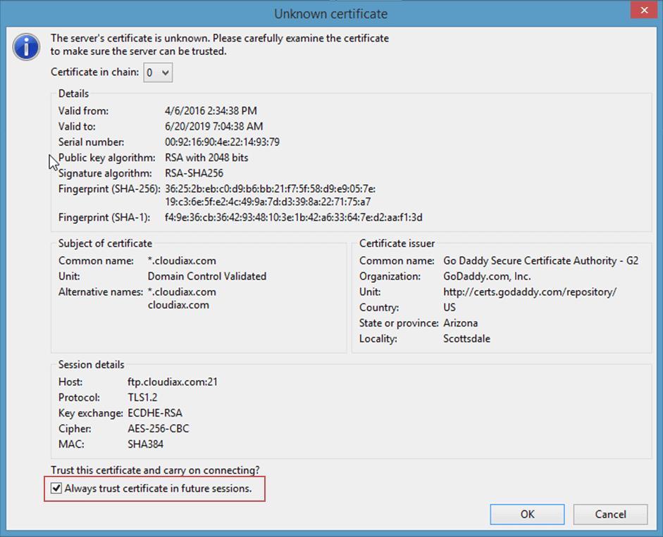 Cloudiax certificate FTP