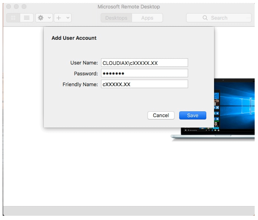 Cloudiax configuration on Mac devices