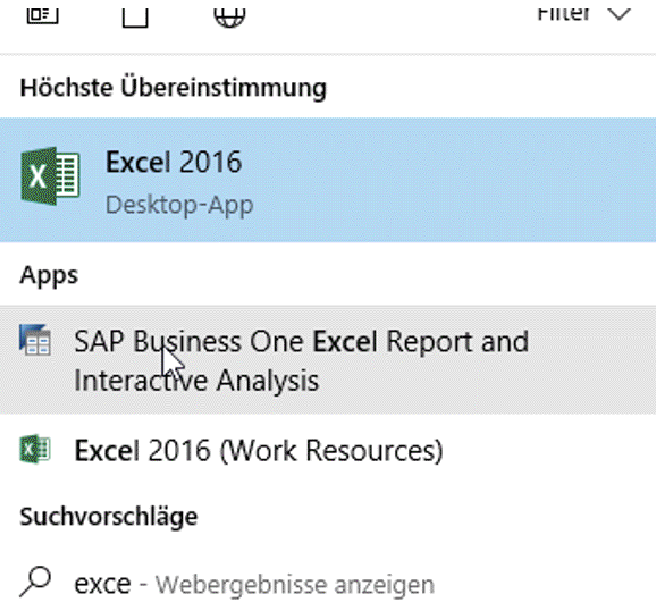 SAP Business One Excel Report